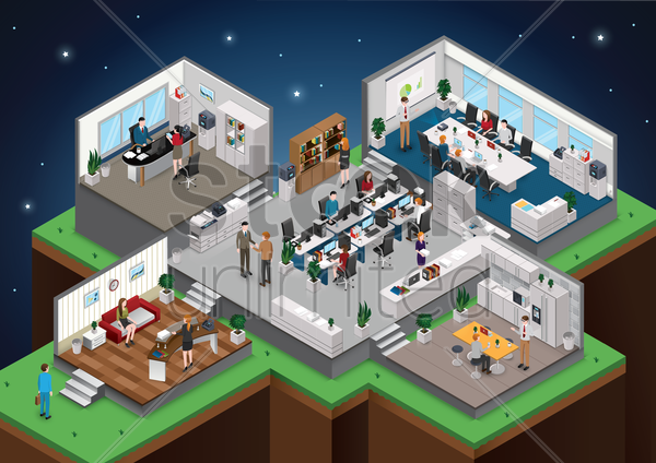isometric office with people vector graphic