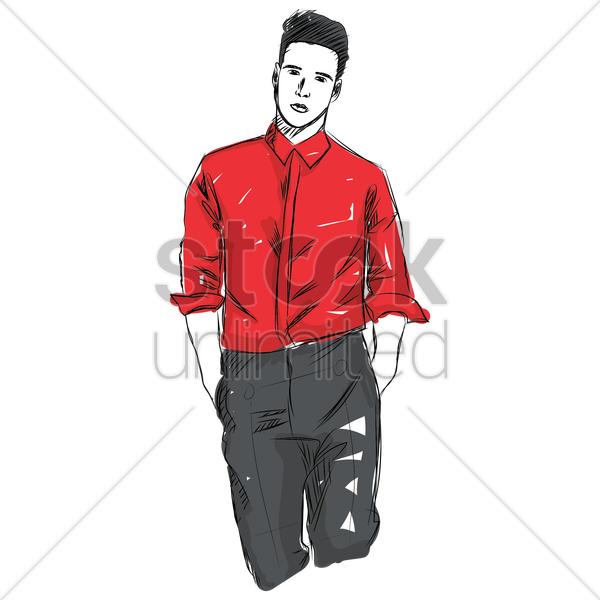 Man Fashion Design Sketch Vector Image 1959879 Stockunlimited