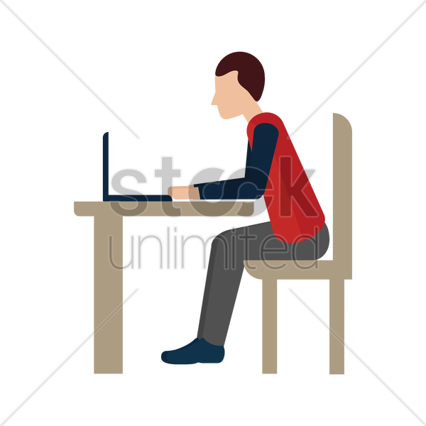 man with laptop vector graphic