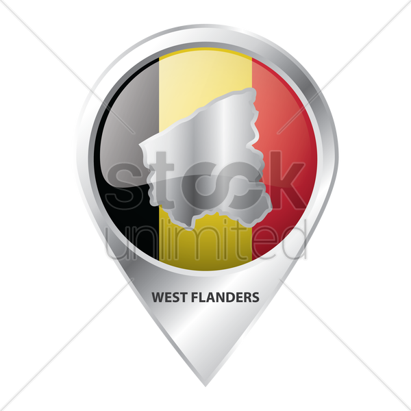 map pointer with west flanders  map vector graphic