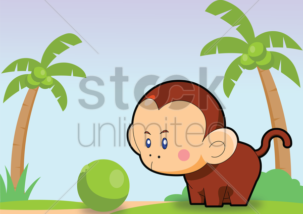monkey over a sky background vector graphic