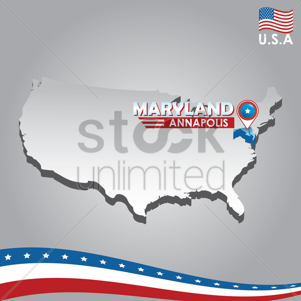 navigation pointer indicating maryland on usa map vector graphic