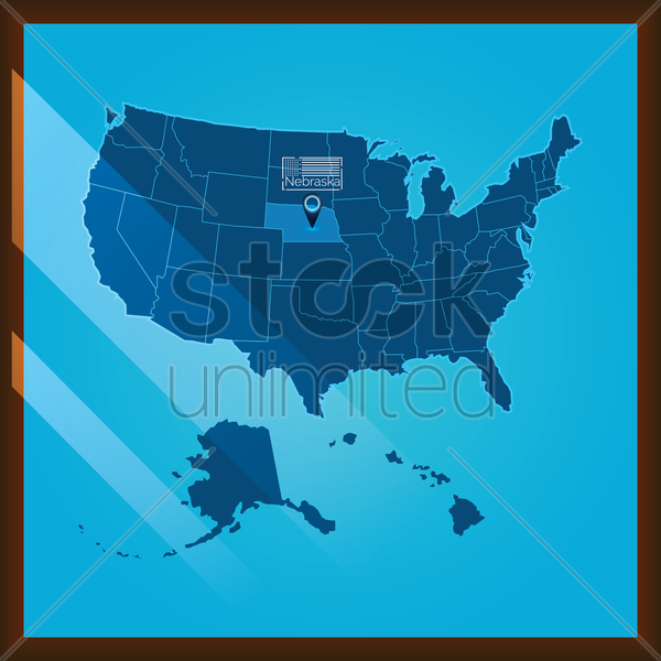 Navigation Pointer Indicating Nebraska State On Us Map Vector Image - Us-map-nebraska-state