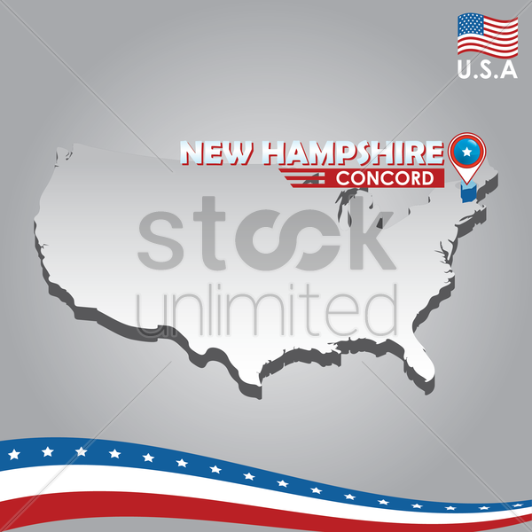 navigation pointer indicating new hampshire on usa map vector graphic