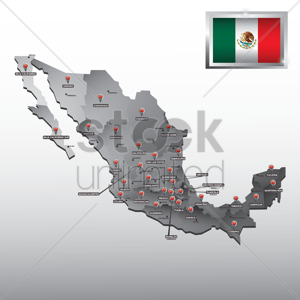navigation pointer indicating states on mexico map vector graphic