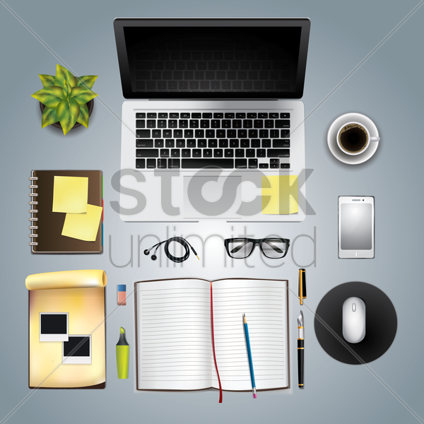 office and desk supplies on white background vector graphic