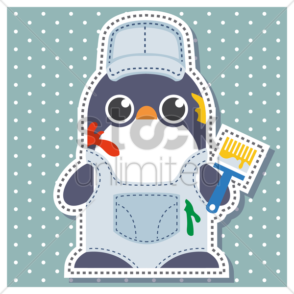 Free penguin as a painter vector graphic