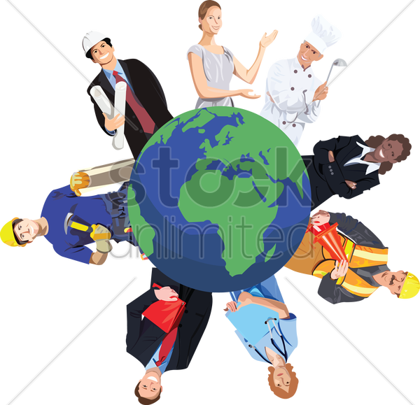 people from various professions around the world vector graphic