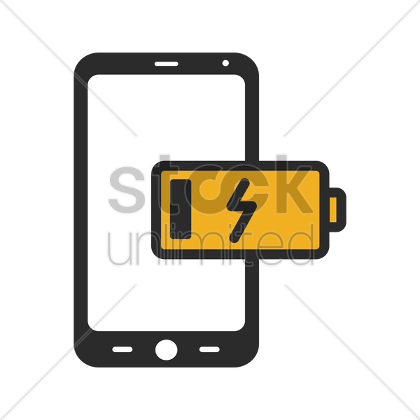 phone low battery icon vector graphic