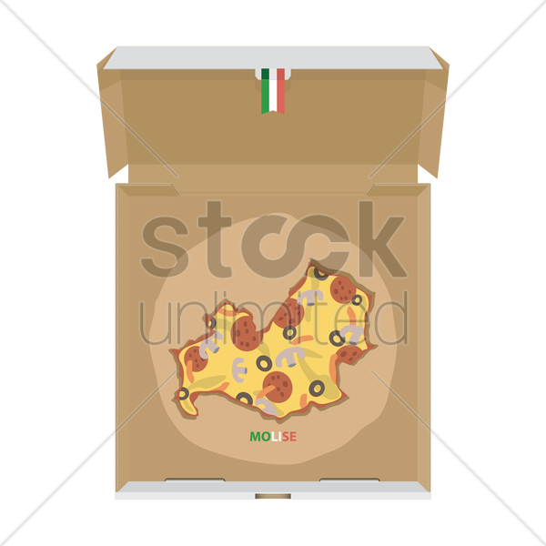 pizza in shape of molise map vector graphic