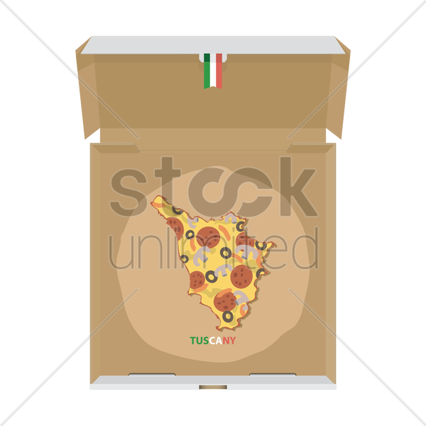 pizza in shape of tuscany map vector graphic