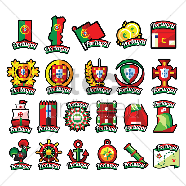 portugal icons vector graphic