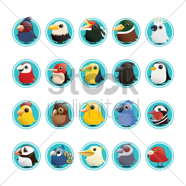 Free set of birds icons vector graphic