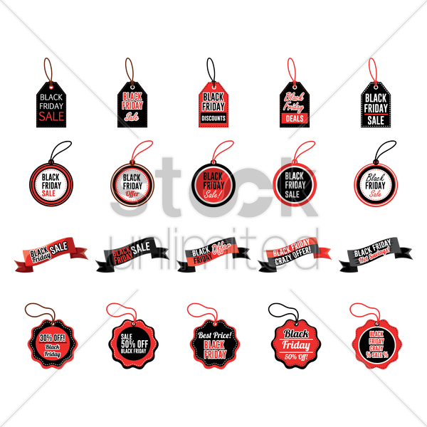 set of black friday tags and banners vector graphic