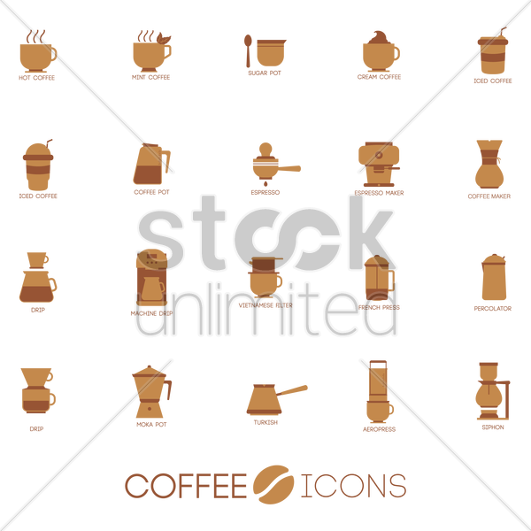 Set Of Coffee Icons Vector Image 1995635 Stockunlimited