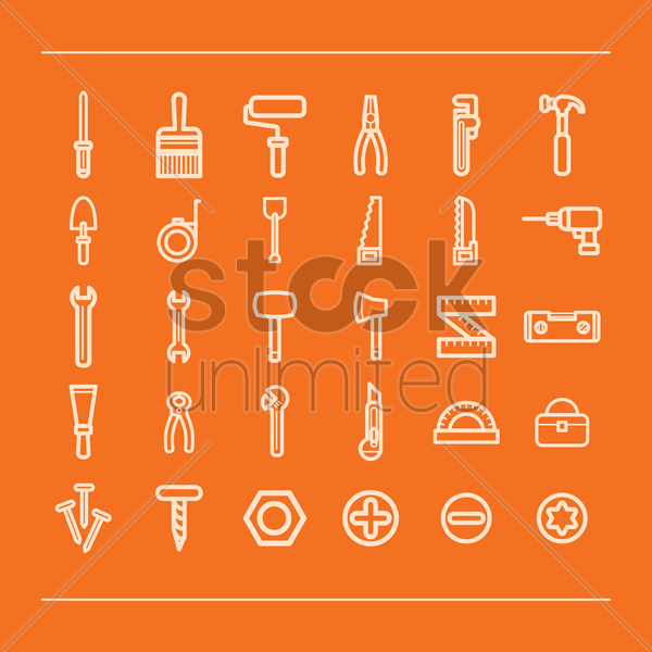 set of construction icons vector graphic