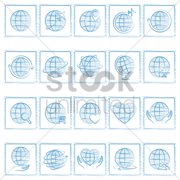 set of globe icons vector graphic