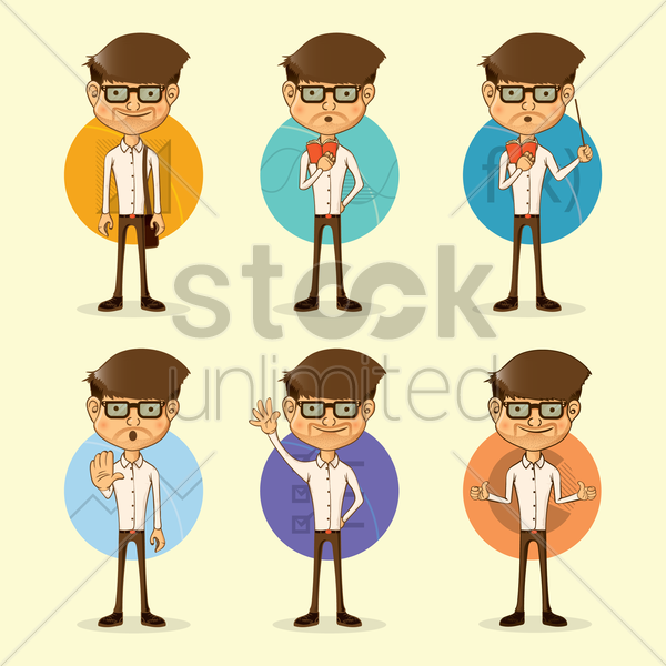 set of lecturer figures vector graphic