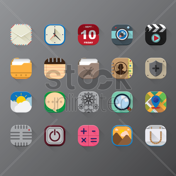 set of mobile application icons vector graphic