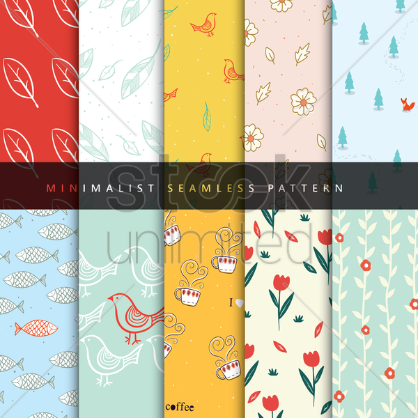 set of pattern icons vector graphic