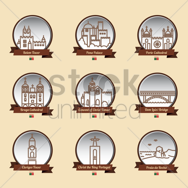 set of portugal landmarks vector graphic