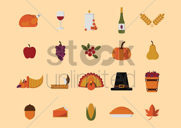 set of thanksgiving icons vector graphic