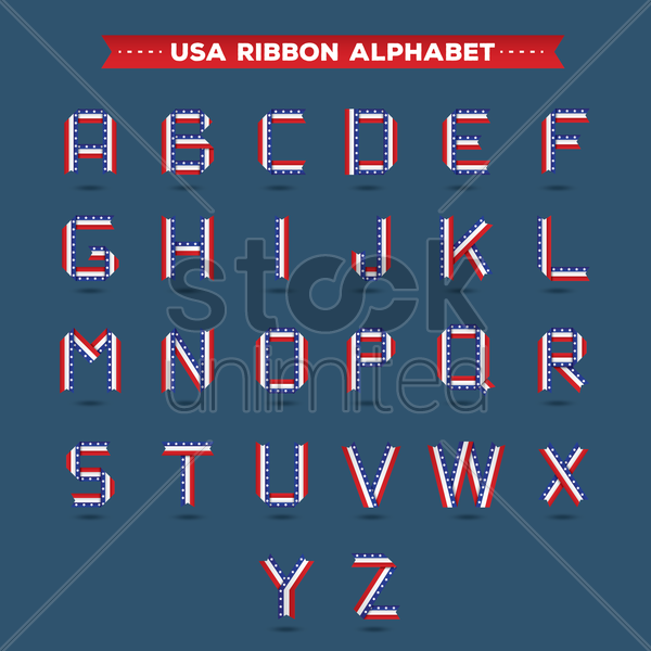 set of usa ribbon alphabets vector graphic