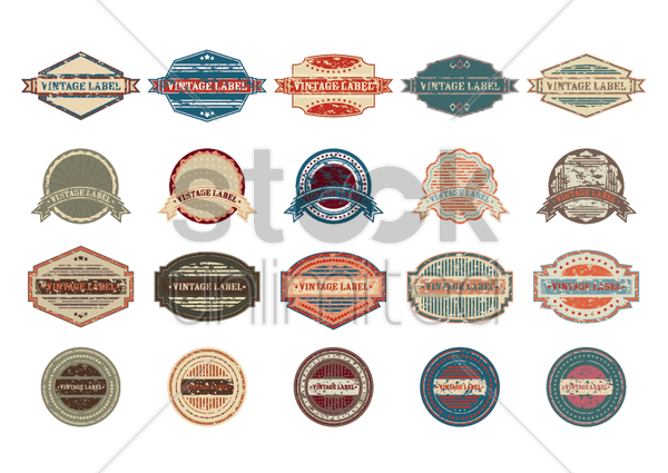 set of vintage labels vector graphic