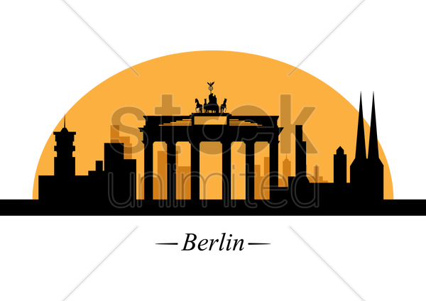 silhouette of berlin vector graphic