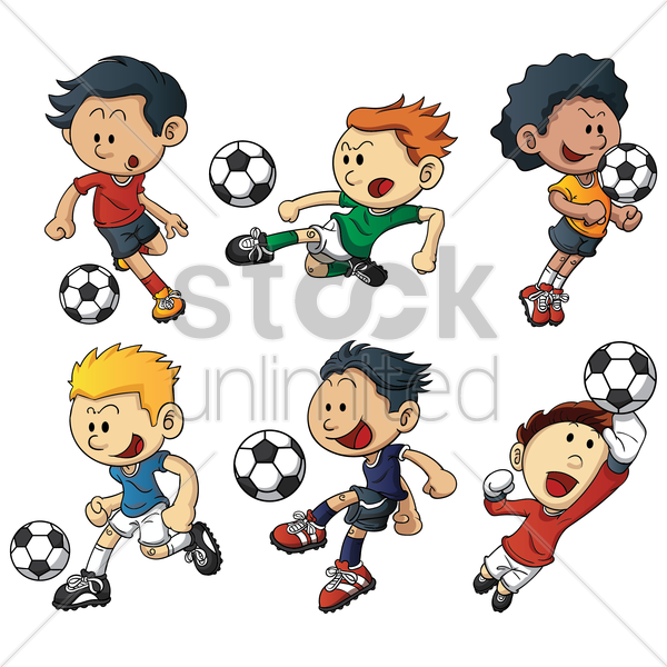 soccer players vector graphic