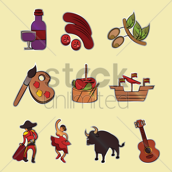 spain general icons vector graphic