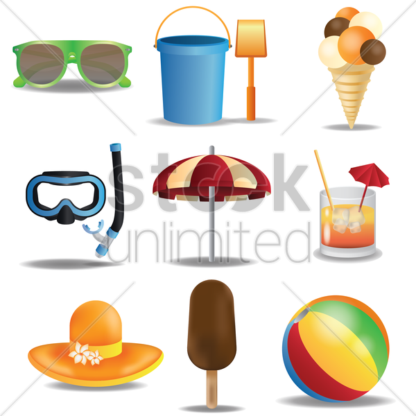 summer theme collection vector graphic
