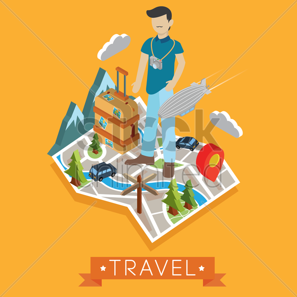 Travel Wallpaper Vector Graphic