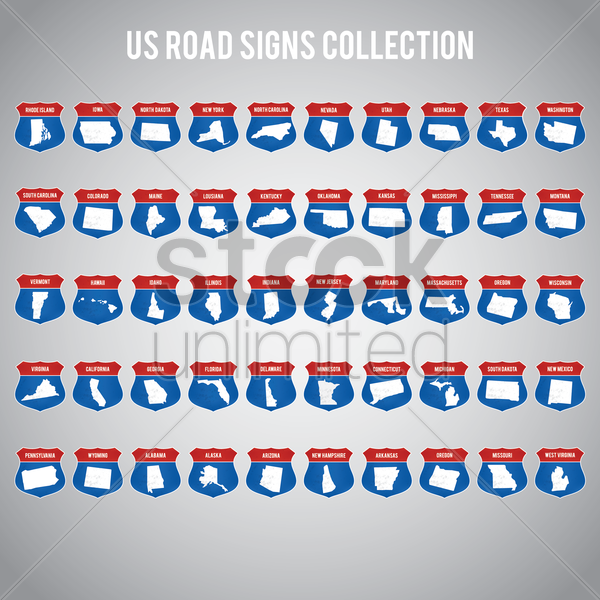 us road sign collection vector graphic
