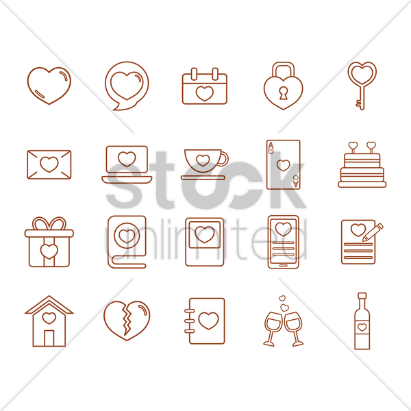 valentines day icons vector graphic
