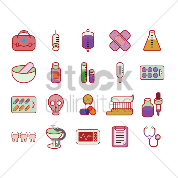 various medical icons vector graphic