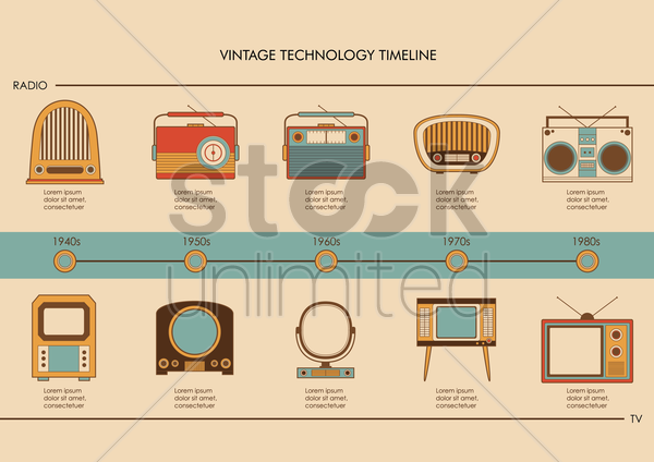 vintage technology infographic vector graphic
