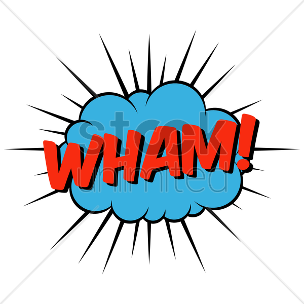 wham comic speech bubble vector graphic