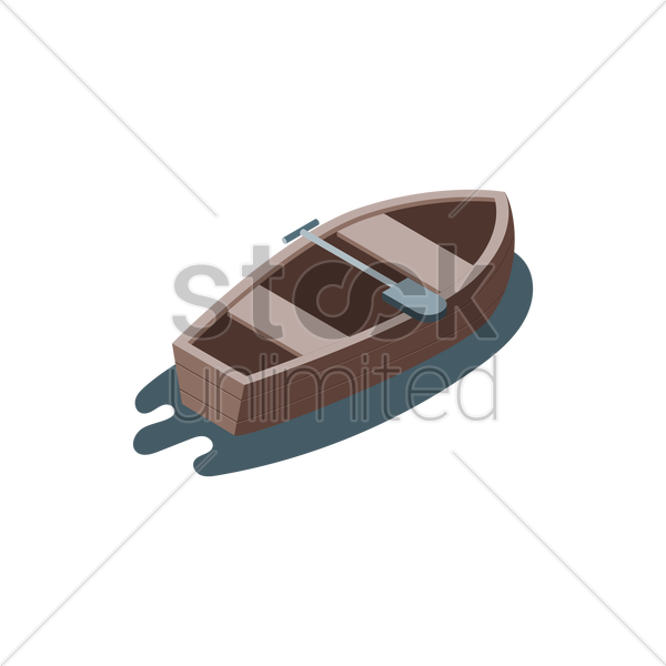 Wooden Boat Vector Graphic