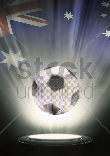 a soccer ball with australia flag backdrop stock photo