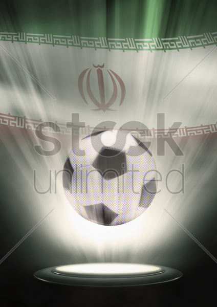 a soccer ball with iran flag backdrop stock photo