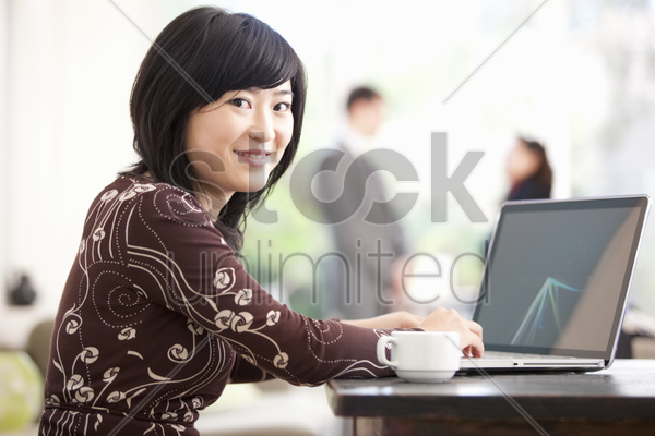 asian businesswoman working from home stock photo