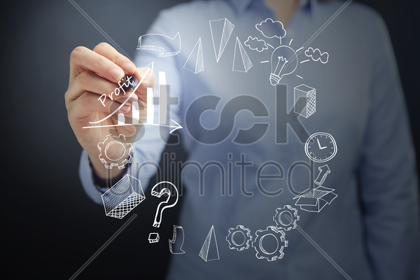 business strategy icons drawn on transparent board concept stock photo