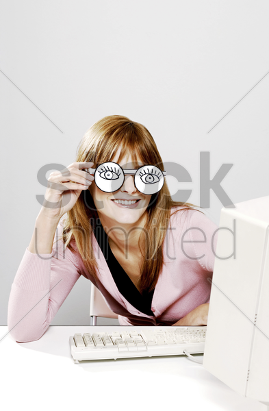 businesswoman wearing spectacles stock photo