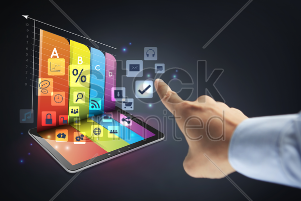 graph hologram from a tablet stock photo
