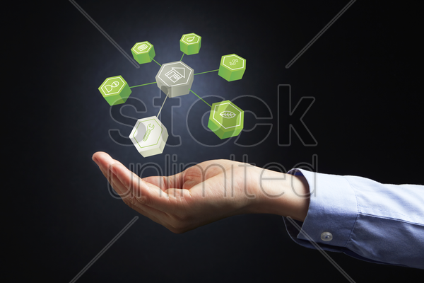 hand presenting organic seo concept stock photo