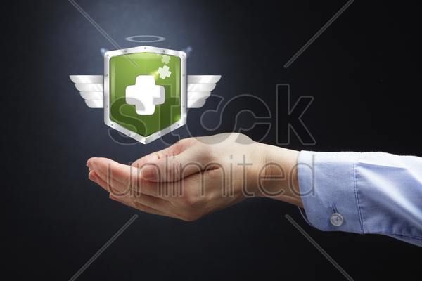 hands presenting health insurance concept stock photo
