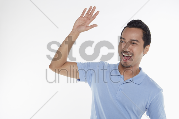 man giving a high five stock photo