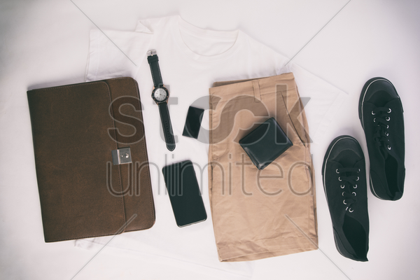 men's outfit and accessories on white background stock photo