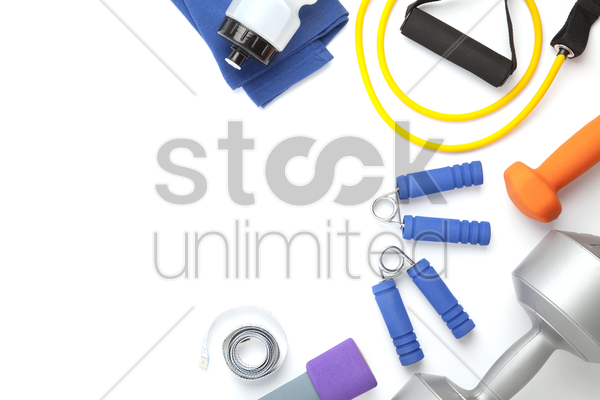 top view of fitness equipment on white background with copy space stock photo